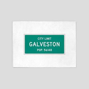 Galveston, Texas City Limits 5'x7'Area Rug