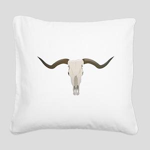 Longhorn Skull Square Canvas Pillow