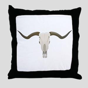 Longhorn Skull Throw Pillow