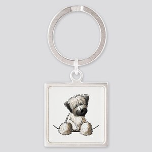 Pocket Wheaten Square Keychain