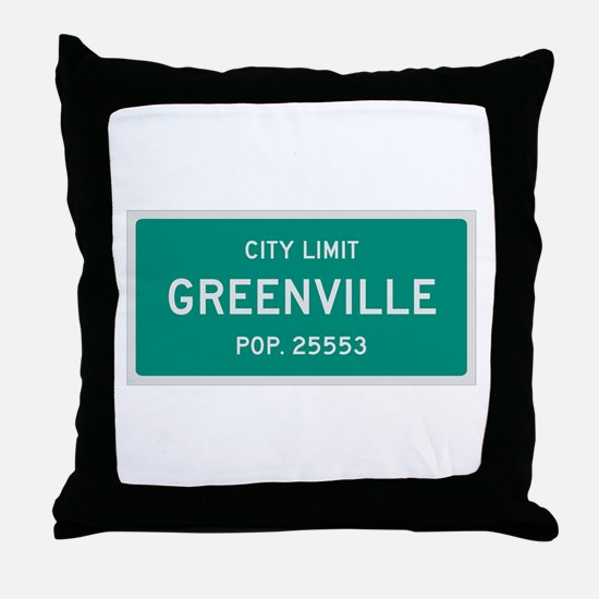 Greenville, Texas City Limits Throw Pillow