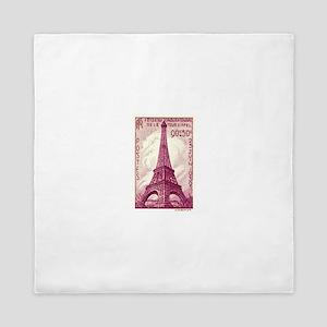 Antique 1939 France Eiffel Tower Stamp Pink Queen