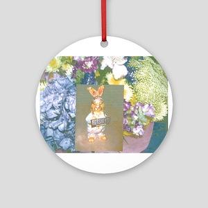 Purple Flowers Gold Hersheys Rabbit. Ornament (Rou