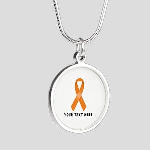Orange Awareness Ribbon Cust Silver Round Necklace