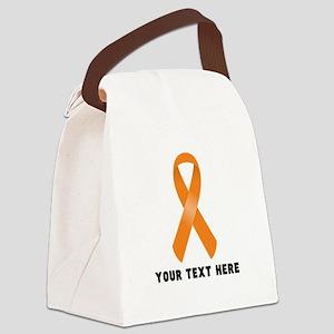 Orange Awareness Ribbon Customize Canvas Lunch Bag