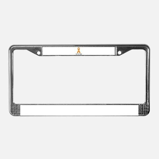 Orange Awareness Ribbon Custom License Plate Frame