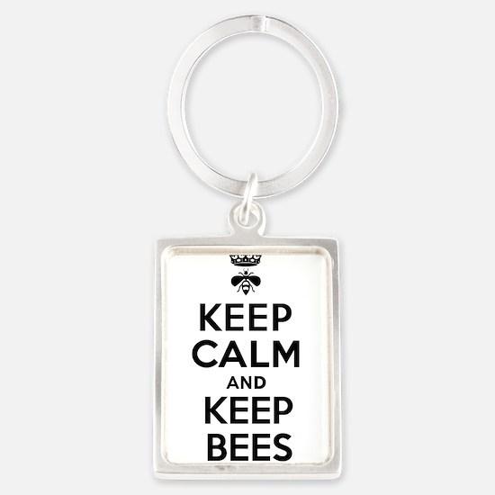 Keep Calm and Keep Bees Portrait Keychain