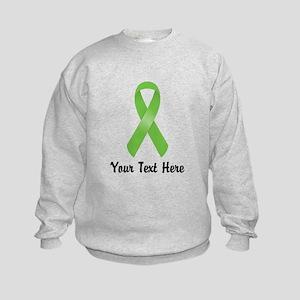 Green Awareness Ribbon Customized Kids Sweatshirt