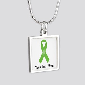 Green Awareness Ribbon Cus Silver Square Necklace