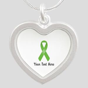 Green Awareness Ribbon Custo Silver Heart Necklace
