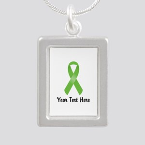 Green Awareness Ribbon C Silver Portrait Necklace