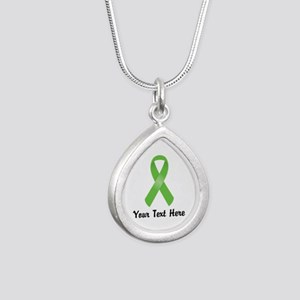 Green Awareness Ribbon C Silver Teardrop Necklace