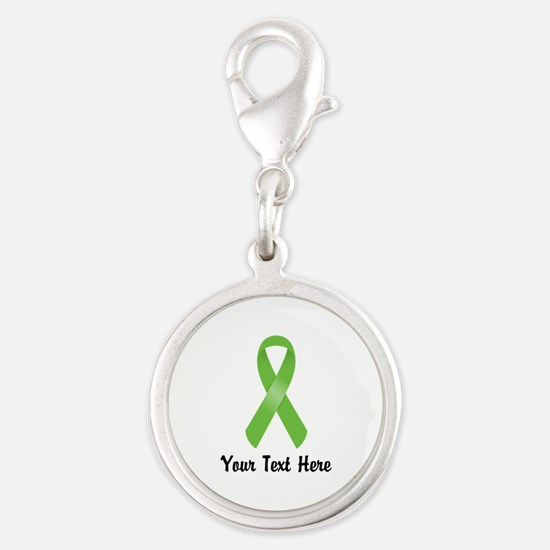 Green Awareness Ribbon Customi Silver Round Charm