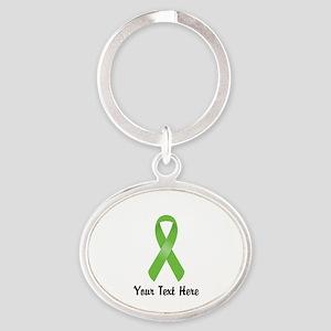 Green Awareness Ribbon Customized Oval Keychain