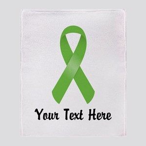 Green Awareness Ribbon Customized Throw Blanket