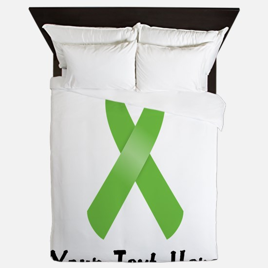 Green Awareness Ribbon Customized Queen Duvet
