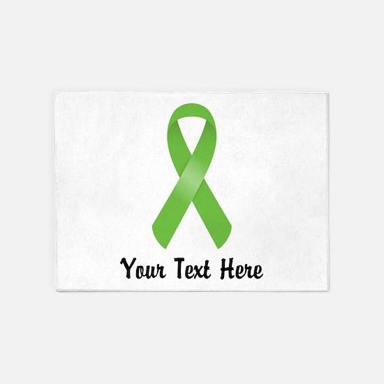 Green Awareness Ribbon Customized 5'x7'Area Rug