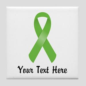 Green Awareness Ribbon Customized Tile Coaster