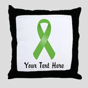 Green Awareness Ribbon Customized Throw Pillow