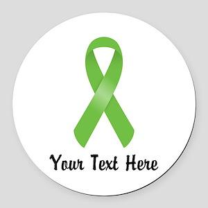 Green Awareness Ribbon Customized Round Car Magnet