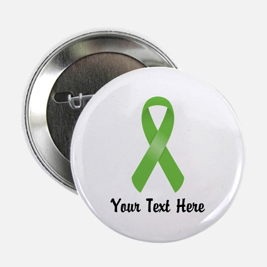 "Green Awareness Ribbon Customized 2.25"" Button"