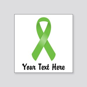 "Green Awareness Ribbon Cust Square Sticker 3"" x 3"""