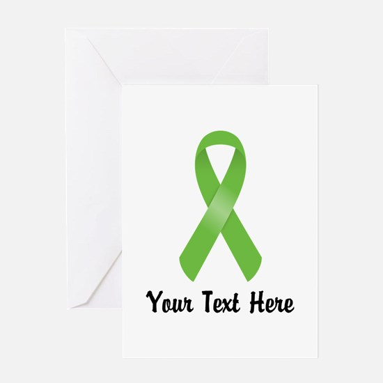 Green Awareness Ribbon Customized Greeting Card