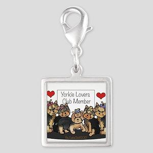 Yorkie Lovers Club Member Silver Square Charm