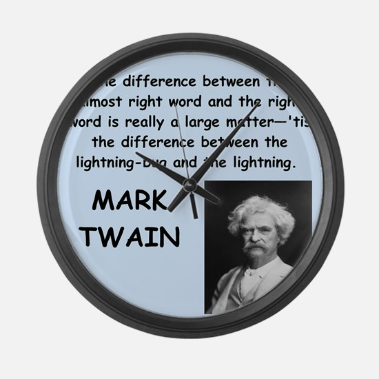 Mark Twain Quote Large Wall Clock