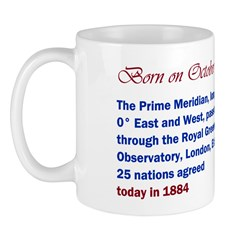 Mug: Prime Meridian, longitude 0 degree, passes th