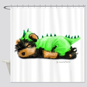 Yorkie Dragon Shower Curtain