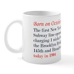 Mug: First New York City Subway line opened, charg