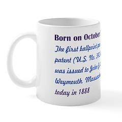 Mug: First ballpoint pen patent (U.S. No. 392,046)