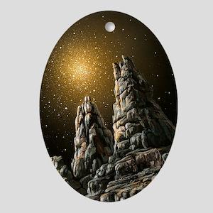 Alien landscape, artwork - Oval Ornament