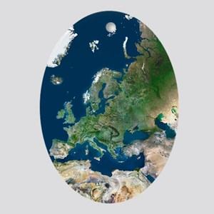 Europe, satellite image - Oval Ornament