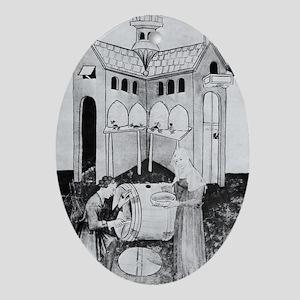 Harvesting honey, 15th century - Oval Ornament