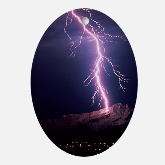 Lightning over Tucson - Oval Ornament