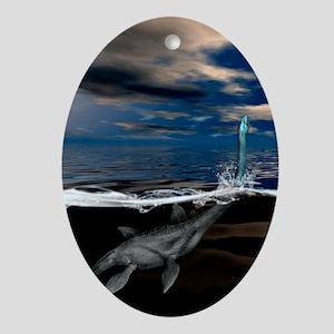 Loch Ness monster, artwork - Oval Ornament