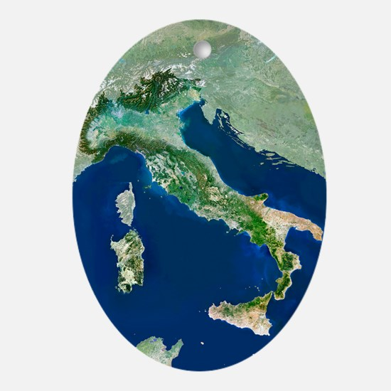 Italy, satellite image - Oval Ornament
