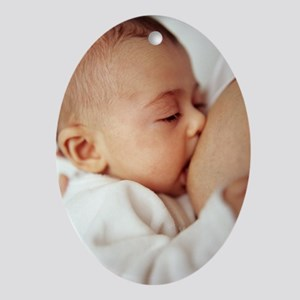Baby girl breastfeeding - Oval Ornament