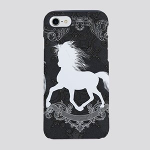Wonderful white horse silhouette with floral eleme