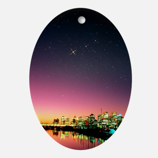 Starry sky over Vancouver - Oval Ornament