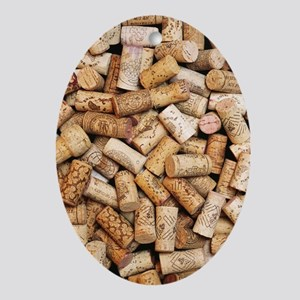 Wine bottle corks - Oval Ornament