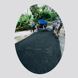 Road construction - Oval Ornament