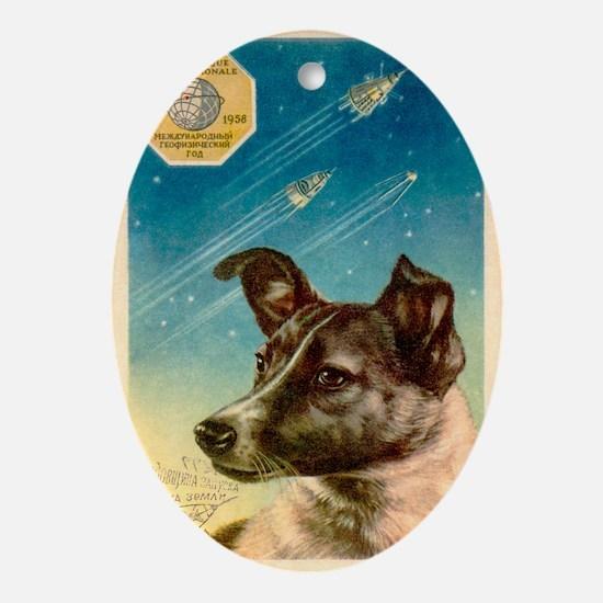 Laika the space dog postcard - Oval Ornament