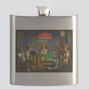 Card Playing Dogs Flask