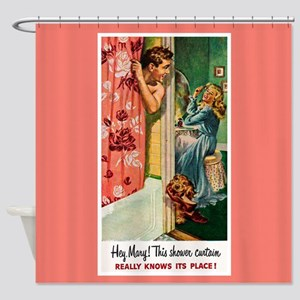 Retro Bathroom Shower Curtain