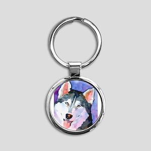 Husky #1 Round Keychain