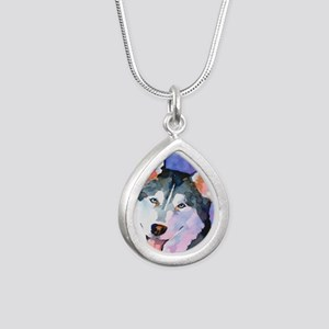 Husky #1 Silver Teardrop Necklace
