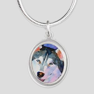 Husky #1 Silver Oval Necklace
